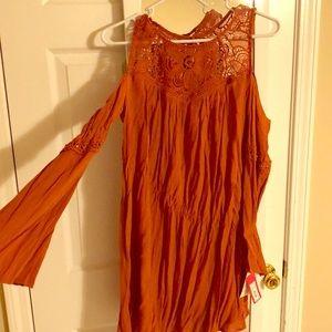 BRAND NEW burnt orange crochet,cold shoulder dress